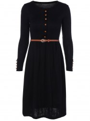Belted Midi Knit A Line Jumper Dress