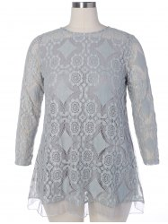Long Sleeve Patchwork Lace Plus Size Dress