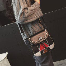 Colour Block Twist-Lock Closure Stitching Crossbody Bag