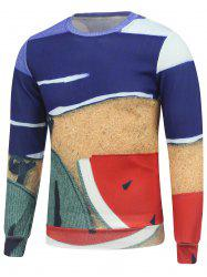 Watermelon Printed Color Block Crew Neck Sweatshirt -