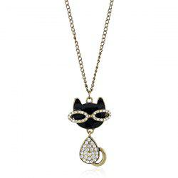 Rhinestone Kitten Pendant Sweater Chain