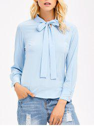 Pussy Bow Tie Long Sleeves Blouse - LIGHT BLUE XL