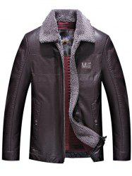 Turndown Collar Zip Up Patch PU Leather Jacket -
