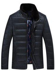 Stand Collar Zip Up PU Leather Padded Jacket