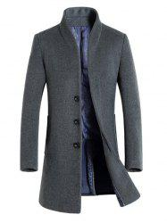 Slimming Stand Collar Single Breasted Wool Blend Coat - GRAY