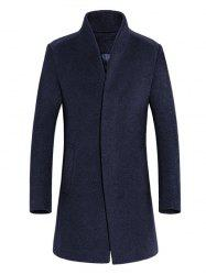 Slimming Stand Collar Single Breasted Wool Blend Coat