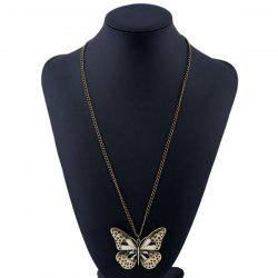 Butterfly Pendant Sweater Chain - BLACK
