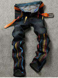 Colorful Striped Pocket Zipper Fly Jeans