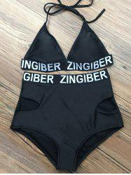 Halter Letter Sports Bikini Set -