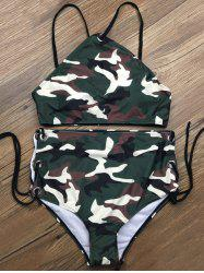 Lace Up Camouflage Two Piece High Waisted Bikini -