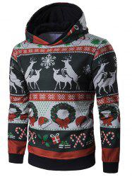 Hooded Christmas Reindeer and Snowflake Print Hoodie -