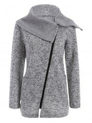 Asymmetric Zipper Knitted Long Coat - LIGHT GRAY