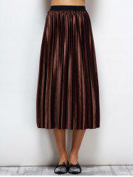 Velvet Accordion Pleat Skirt