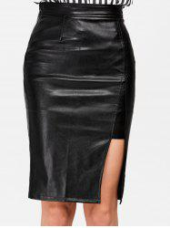 Faux Leather Slit Plain Skirt - BLACK L