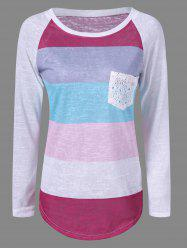 Pocket Color Block Raglan Sleeve T-Shirt - GRAY XL