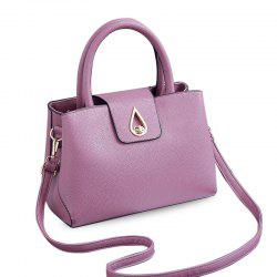 Metal Embellished Textured PU Tote - LIGHT PURPLE