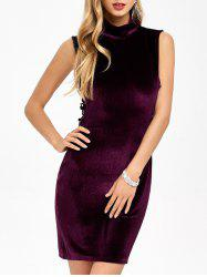 Cut Out Fitted Mini Velvet Dress