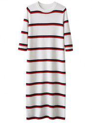 Crew Neck Striped Long Knitted Jumper Dress -