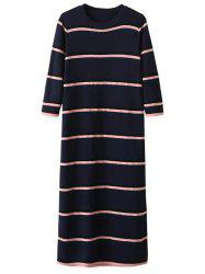 Crew Neck Striped Long Knitted Jumper Dress