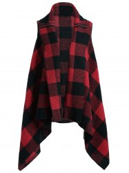 Plaid Pocket Asymmetrical Vest