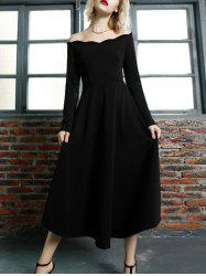 Off Shoulder Scalloped Midi Vintage Prom Evening Dress - BLACK