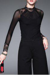 Stand Collar Lace Panel Tee -