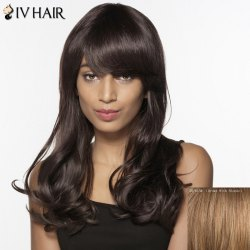 Siv Hair Long Fluffy Inclined Bang Wavy Human Hair Wig