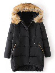 Plus Size High Low Parka Jacket - BLACK