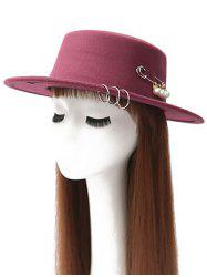 Faux Pearl Circle Hoop Embellished Hat - WINE RED
