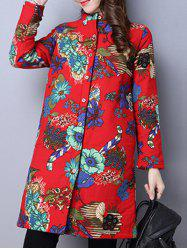 Floral Print Quilted Coat - RED