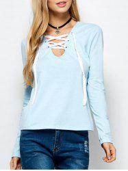 Lace Up Long Sleeves Tee