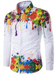 Colorful Splatter Paint Pattern Turndown Collar Long Sleeve Shirt - WHITE