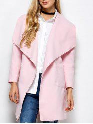 Woolen Long Wrap Coat With Pockets - PINK