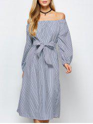 Midi Off Shoulder Stripe Casual Dress -