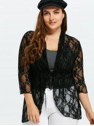 Plus Size Drawstring Asymmetric Lace Jacket - BLACK