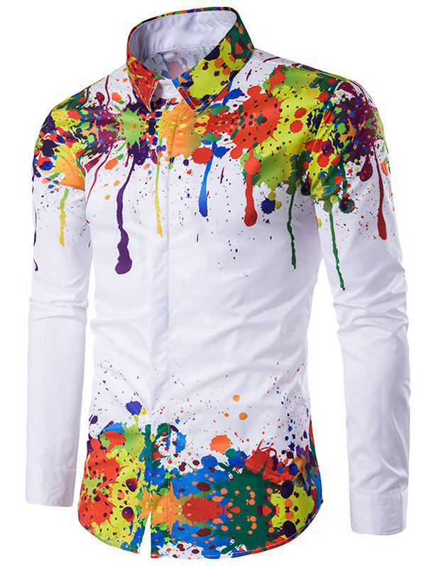Colorful Splatter Paint Pattern Turndown Collar Long Sleeve ShirtMEN<br><br>Size: 3XL; Color: WHITE; Shirts Type: Casual Shirts; Material: Cotton,Polyester; Sleeve Length: Full; Collar: Turn-down Collar; Weight: 0.2450kg; Package Contents: 1 x Shirt;