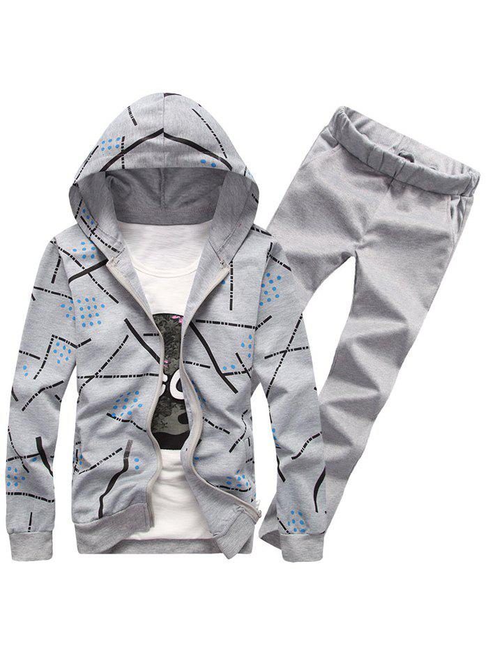Shop Printed Zip Up Hoodie and Casual Pants Twinset