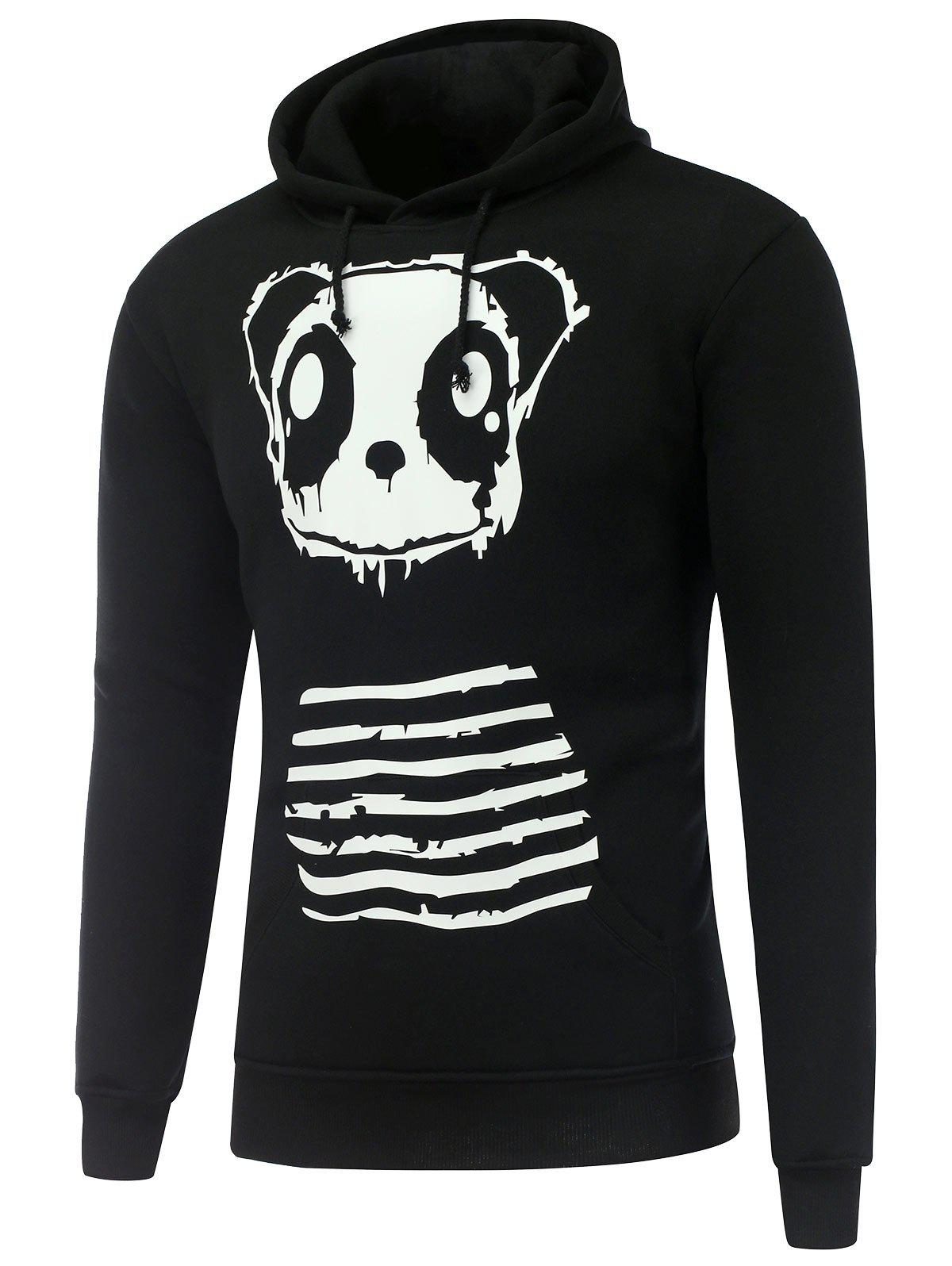 Shop Hooded Long Sleeve Gloomy Panda Print Hoodie