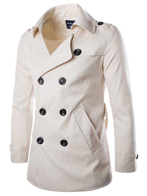 Shops Back Vent Epaulet Design Belted Trench Coat