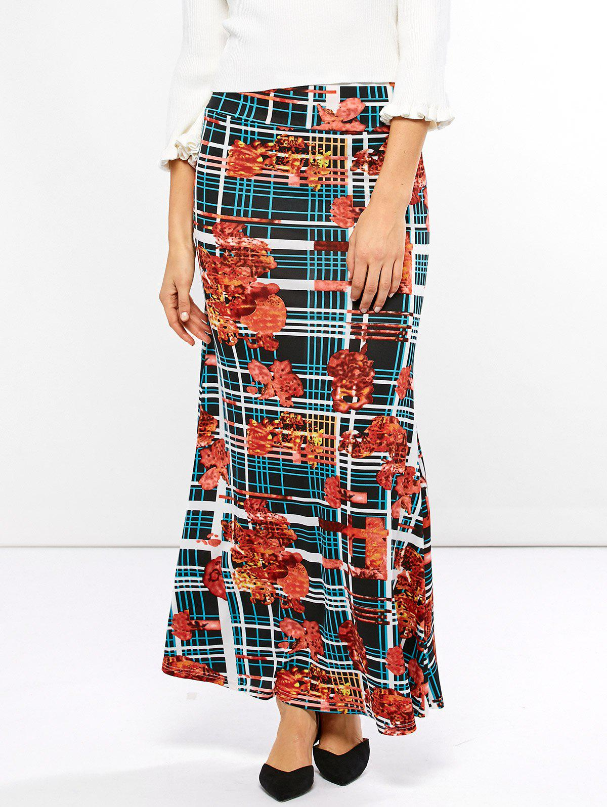 Chic Mid Waist Striped Print Skirt