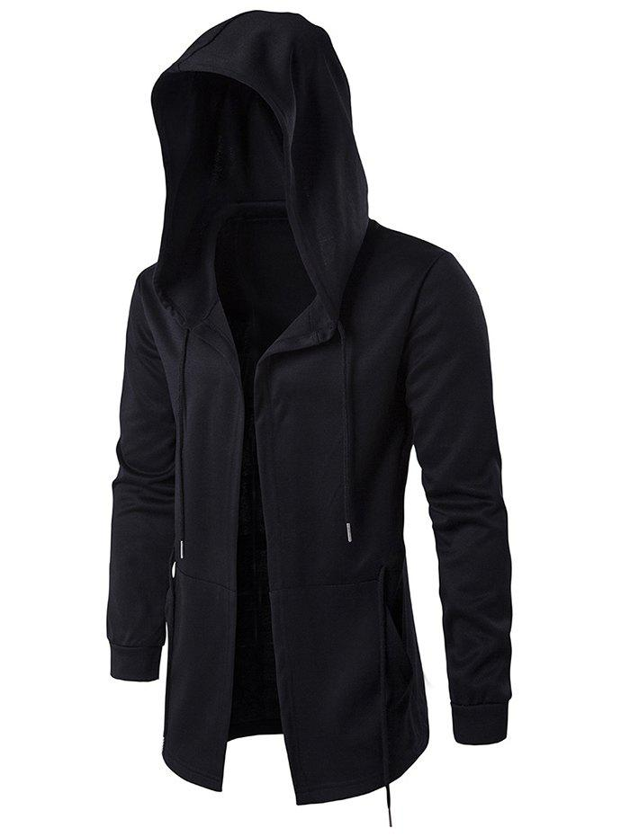 Cloak Hooded Waist Open Front HoodieMEN<br><br>Size: M; Color: BLACK; Material: Cotton Blends; Shirt Length: Long; Sleeve Length: Full; Style: Fashion; Weight: 0.5820kg; Package Contents: 1 x Hoodie;