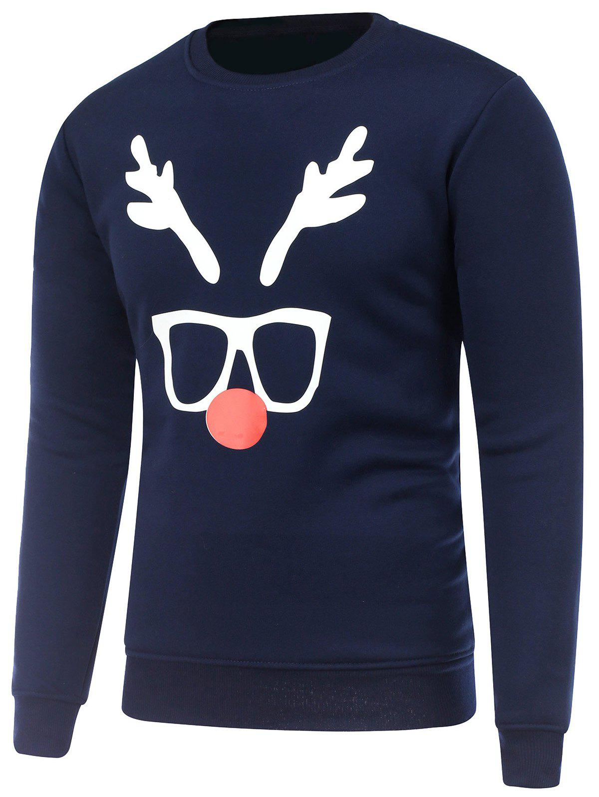 Crew Neck Long Sleeve Christmas Deer Horn Print SweatshirtMEN<br><br>Size: M; Color: CADETBLUE; Material: Cotton,Polyester; Shirt Length: Regular; Sleeve Length: Full; Style: Fashion; Weight: 0.550kg; Package Contents: 1 x Sweatshirt;