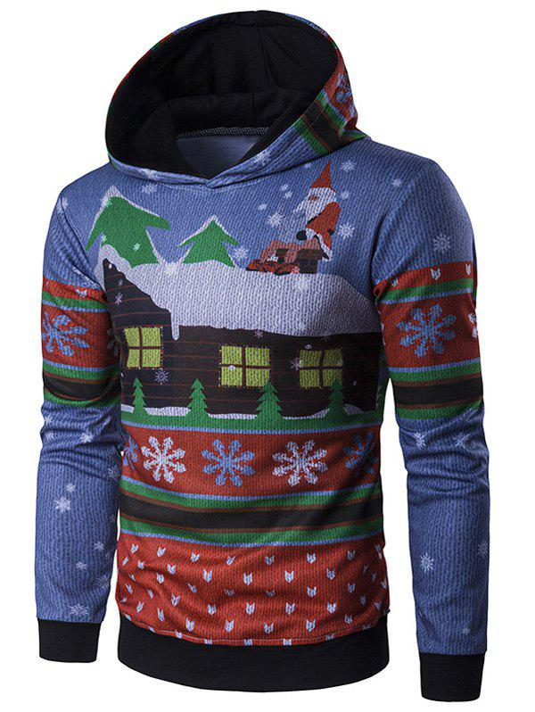 Sale Hooded Father Christmas and House Print Hoodie