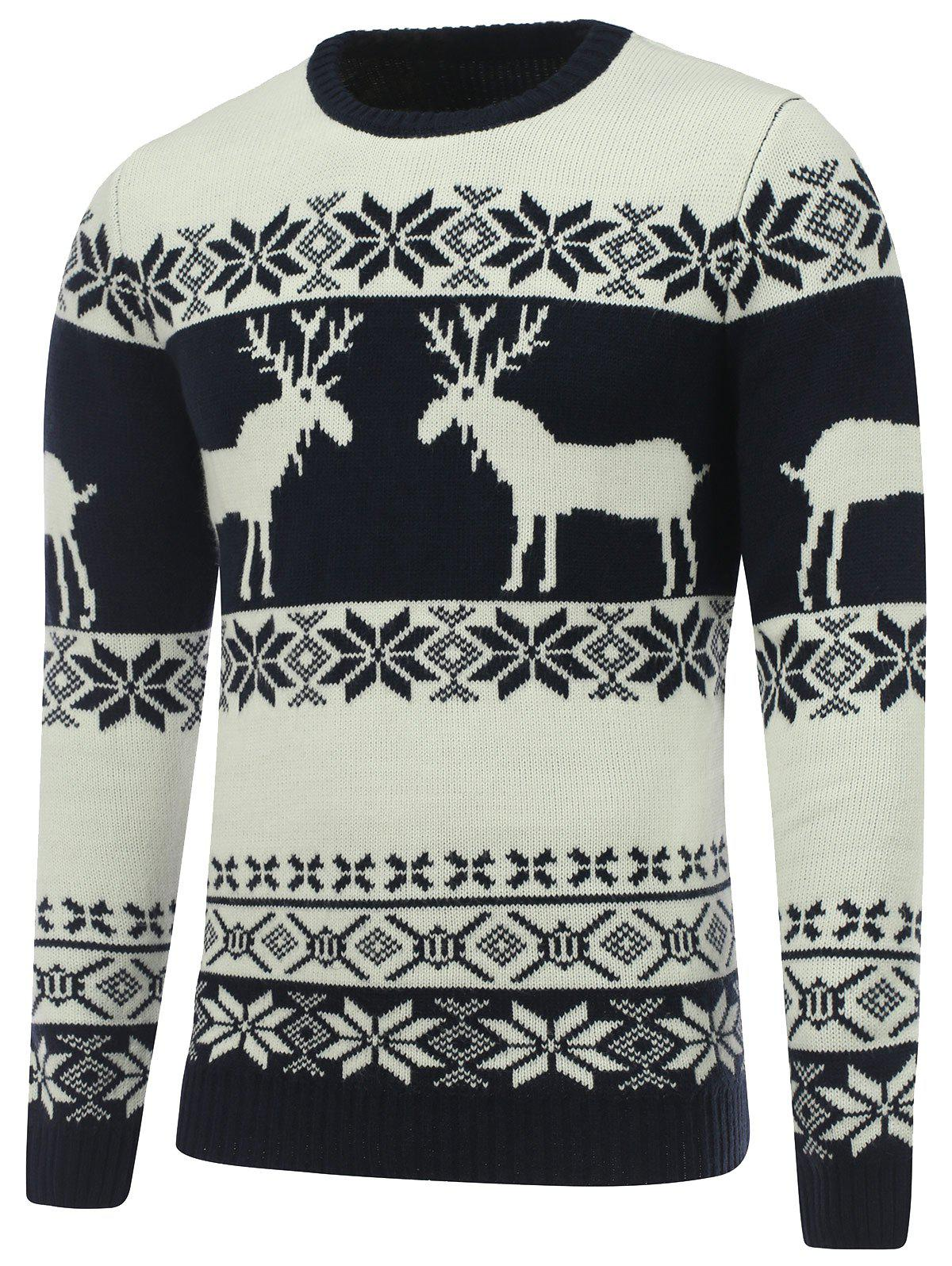 Crew Neck Reindeer Snowflake Christmas SweaterMEN<br><br>Size: XL; Color: WHITE; Type: Pullovers; Material: Polyester; Sleeve Length: Full; Collar: Crew Neck; Style: Fashion; Weight: 0.7580kg; Package Contents: 1 x Sweater;