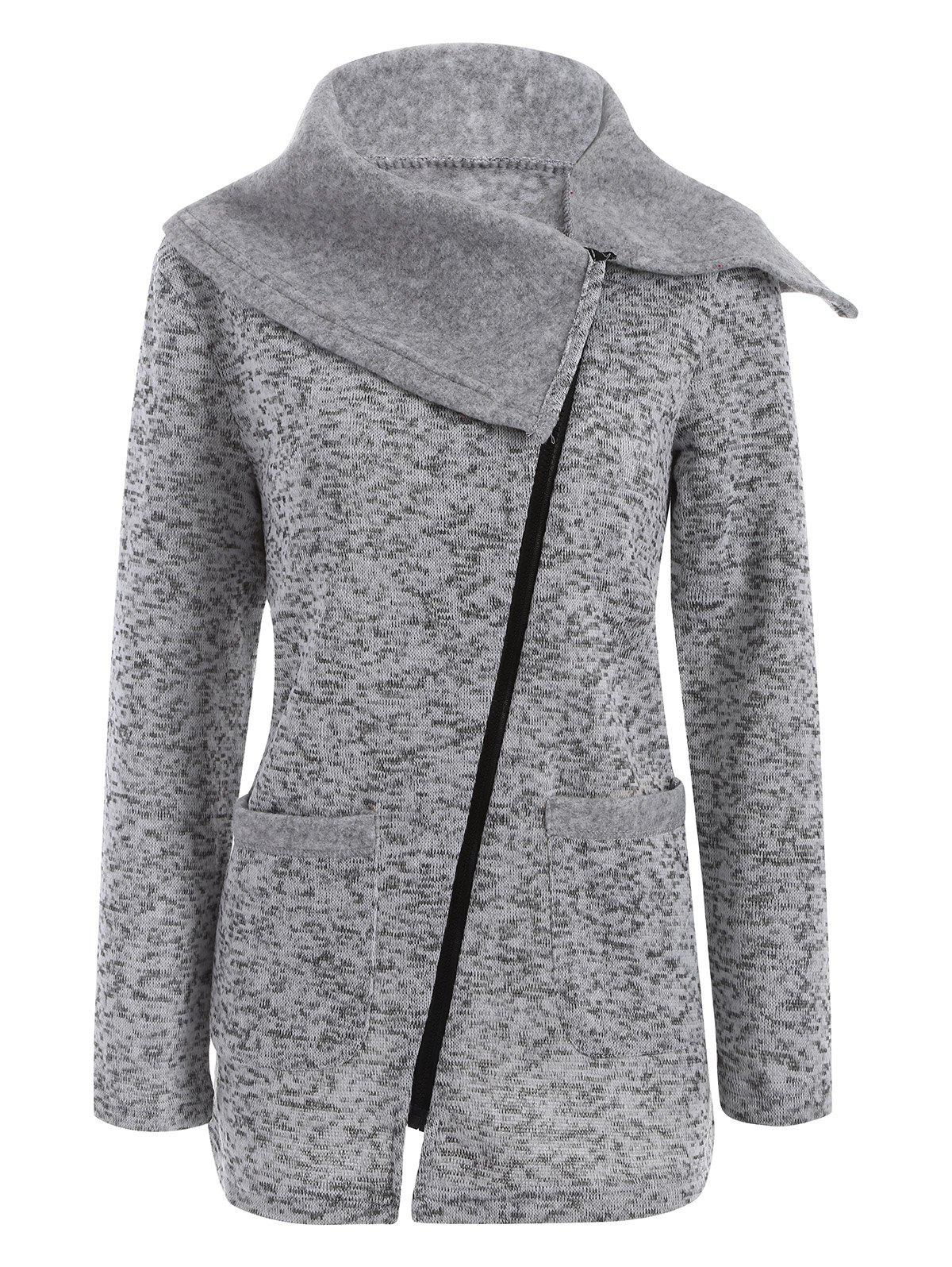 Asymmetric Zipper Knitted Long CoatWOMEN<br><br>Size: M; Color: LIGHT GRAY; Clothes Type: Jackets; Material: Cotton,Cotton Blend,Polyester; Type: Slim; Shirt Length: Long; Sleeve Length: Full; Collar: Turn-down Collar; Closure Type: Zipper; Pattern Type: Solid; Embellishment: Pockets; Style: Casual; Season: Winter; Elasticity: Elastic; Weight: 0.470kg; Package Contents: 1 x Coat;