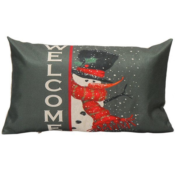 Cartoon Snowman Printed Christmas Throw Pillow CoverHOME<br><br>Color: BLACK GREY; Material: Linen; Pattern: Printed; Style: Modern/Contemporary; Shape: Rectangula; Size(CM): 30*50; Weight: 0.110kg; Package Contents: 1 x Pillow Case;