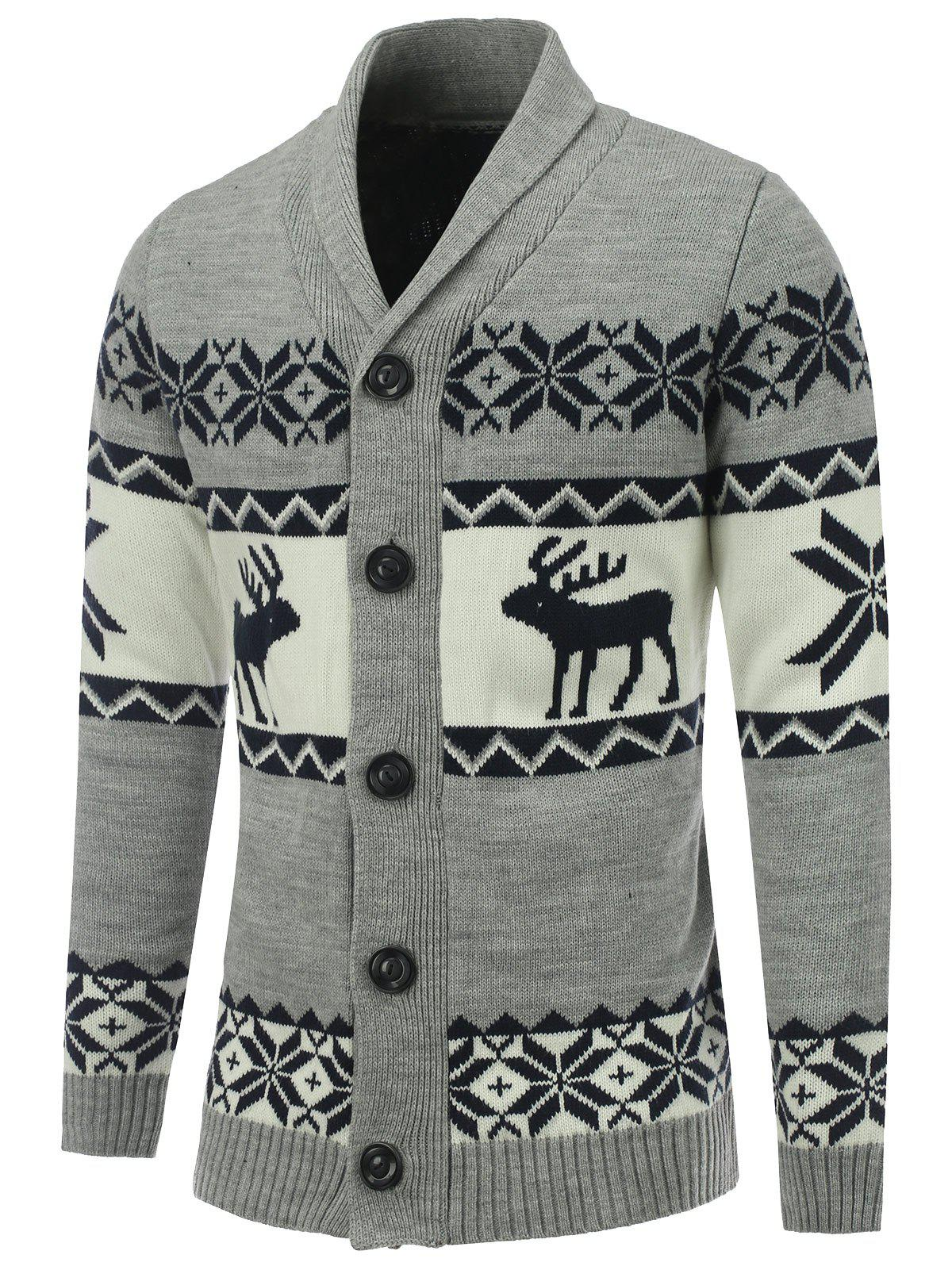 Outfit Shawl Collar Reindeer Snowflake Button Up Cardigan
