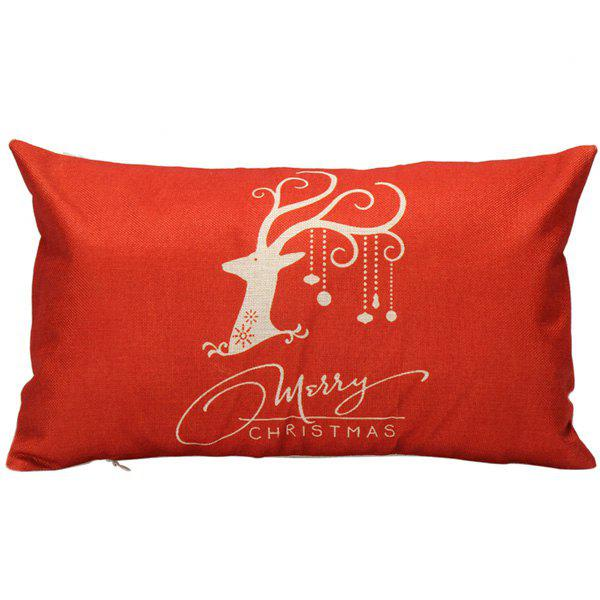 Home Decorative Elk Pattern Christmas Rectangle Pillow CoverHOME<br><br>Color: RED; Material: Polyester / Cotton; Pattern: Printed; Style: Modern/Contemporary; Shape: Rectangula; Size(CM): 30*50; Weight: 0.110kg; Package Contents: 1 x Pillow Case;