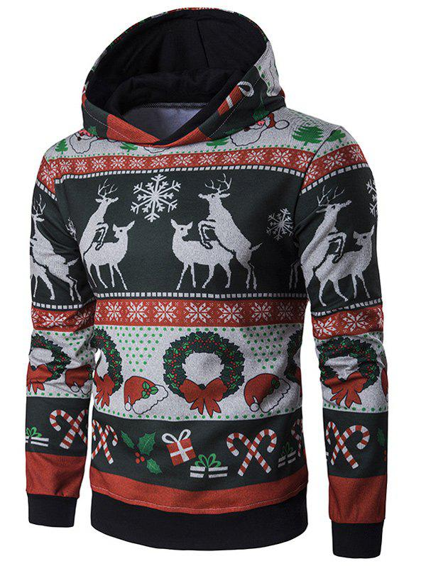 Outfit Hooded Christmas Reindeer and Snowflake Print Hoodie