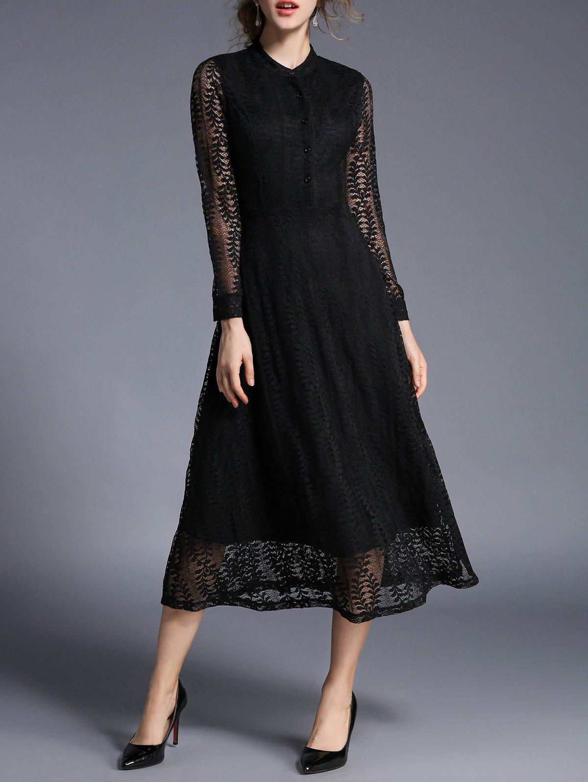 Affordable See Thru Midi Lace Dress